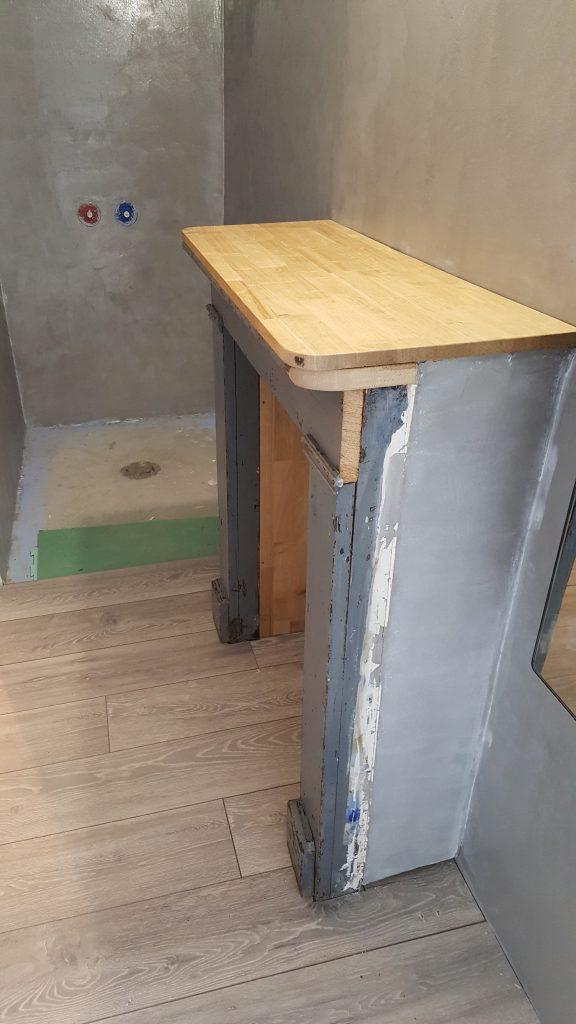 Meuble sous vasques en cours de création chambre Givry